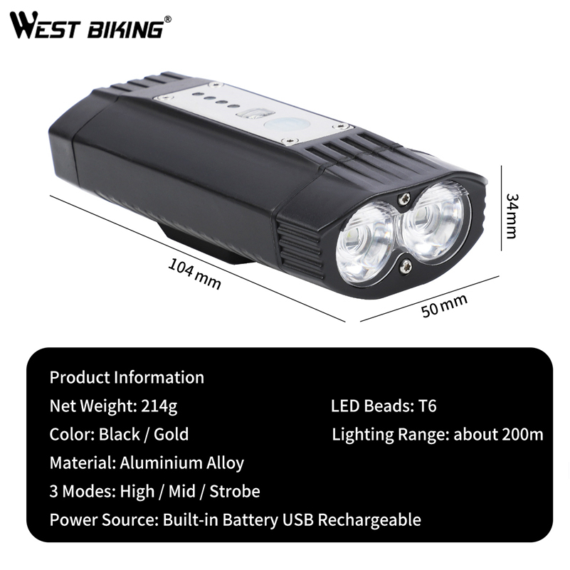 West Biking Bicycle Front Lamp LED USB Rechargeable Bike Light 200m Flashlight