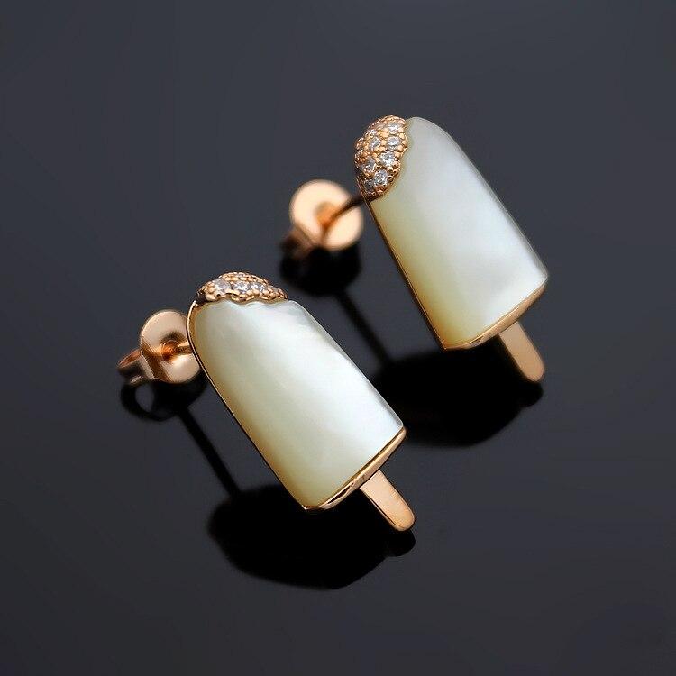 New arrival brand fashion stainless steel ice cream earrings for wemen white green shell stud earrings best gift high quality coke ice cream creative earrings