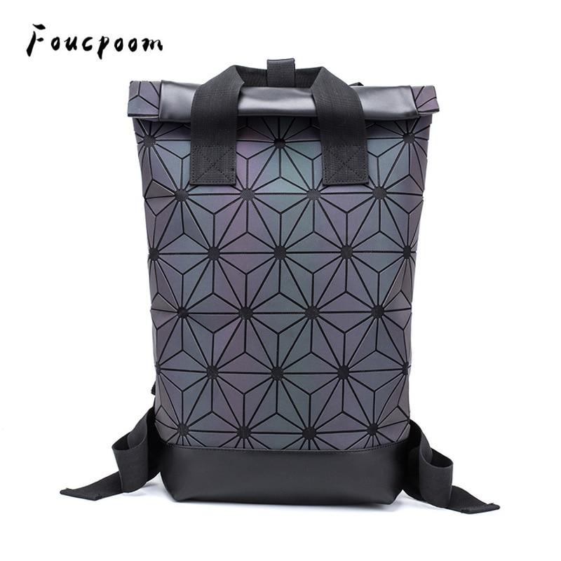 2019 Fashion Backpacks Women Luminous Geometric Backpack Large Men Laptop School Backpack Shoulder Travel Holographic Backpack