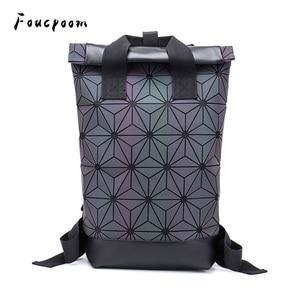 Image 1 - Модные женские рюкзаки 2021, Светящийся рюкзак с геометрическим рисунком, большой мужской школьный рюкзак для ноутбука, рюкзак на плечо для путешествий с голографическим рисунком