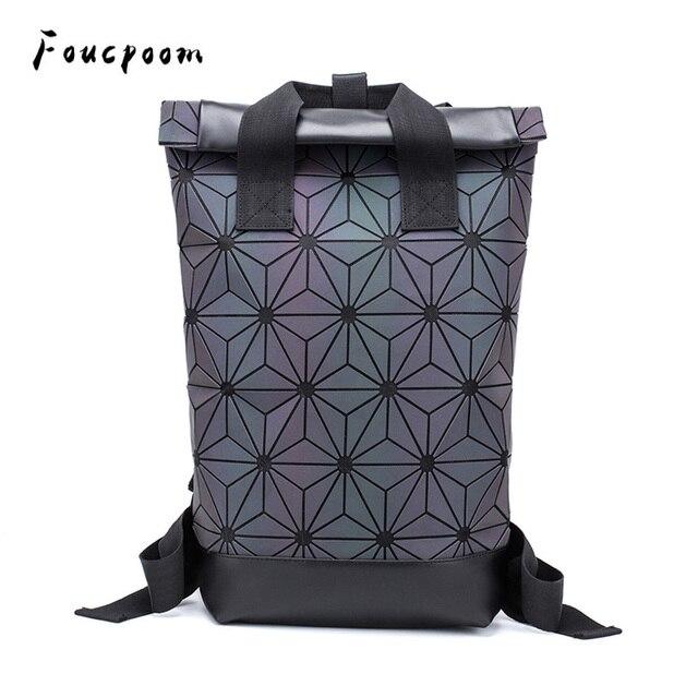 Модные женские рюкзаки 2021, Светящийся рюкзак с геометрическим рисунком, большой мужской школьный рюкзак для ноутбука, рюкзак на плечо для путешествий с голографическим рисунком