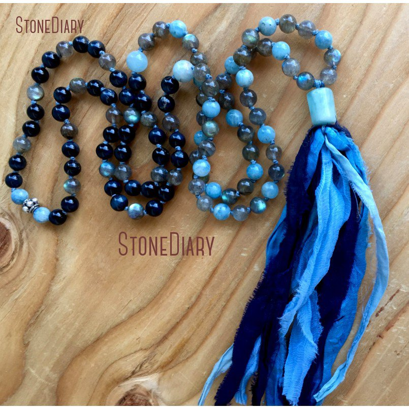 Natural Aquamarines Blue Tiger Eye Labradorite Hand Beads Mala Necklace Healing Sari Tassel Mala Prayer Beads Necklace NM11087