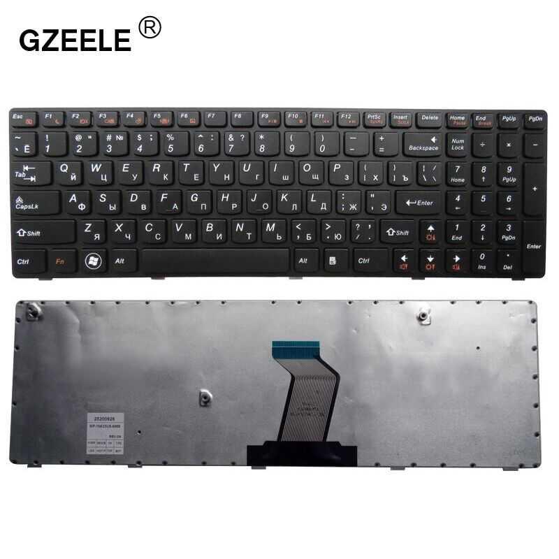 Gzeele RU Клавиатура для ноутбука LENOVO b590 V570 Z570 Z575 B570A B570G B575 B575A B580 25013347 с черной рамкой RU