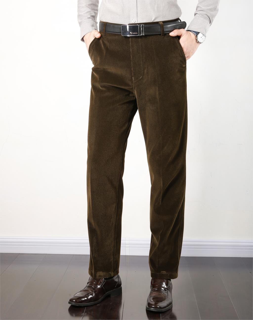 Autumn Spring corduroy trousers men s leisure pants high waist straight middle aged wash and wear Autumn Spring corduroy trousers men's leisure pants high waist straight middle-aged wash and wear business casual corduroy pants