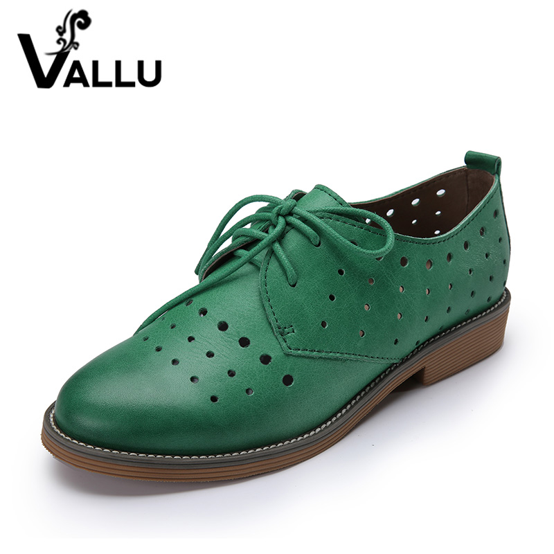 2018 VALLU Genuine Leather Women Brogue Shoes Flat Heels Round Toes Lace Up Hollow Out Handmade Shoes Woman Green Yellow Gray 2018 vallu women brogue shoes wingtip perforated round toes lace up genuine leather vintage oxfords women flats shoes plus size