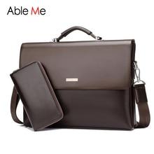 AbleMe Business Handbag Mens Fashion Leather Briefcases Tote Bag Male Sacoche Homme Document Laptop Shoulder Men