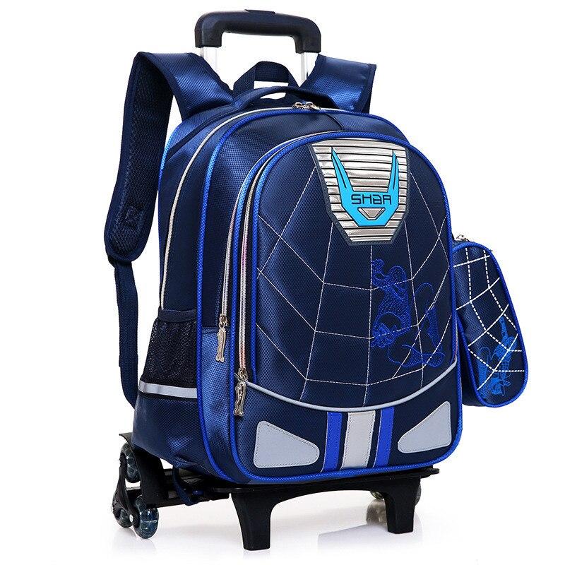 Waterproof Wheeled Bags School Boys Removable Trolley Backpack School Children Large Capacity Book Bags Travel Luggage