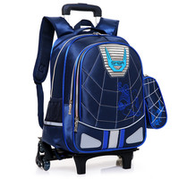 Waterproof Wheeled Bags School Boys Removable Trolley Backpack School Children Large Capacity Book Bags Travel Luggage Bag