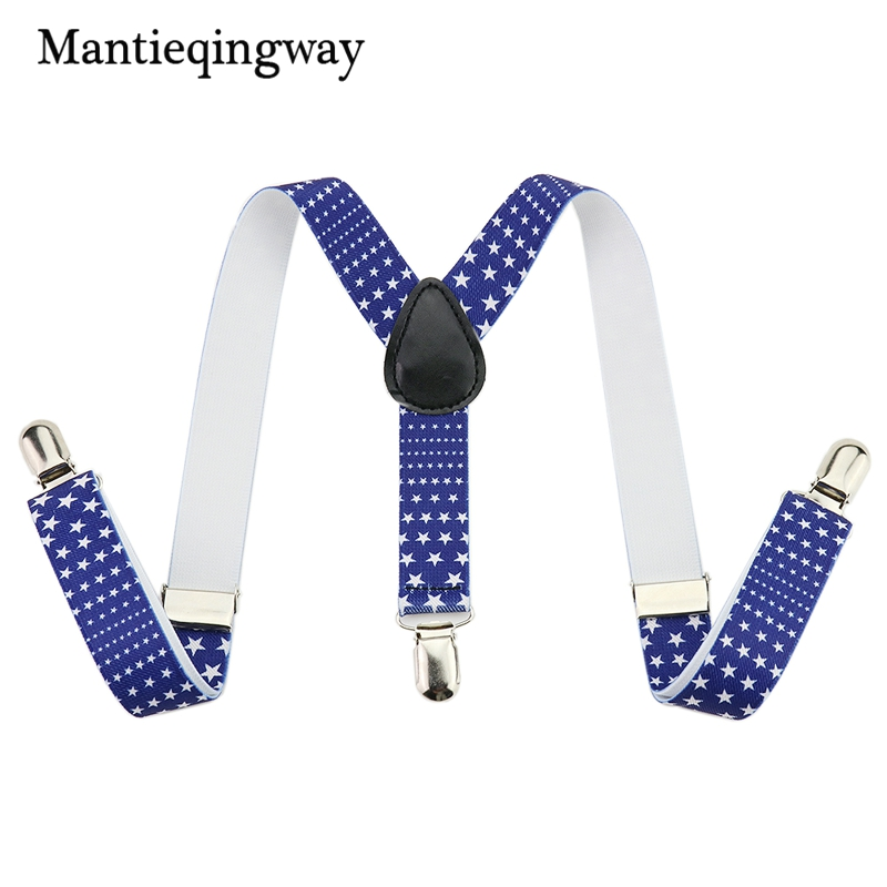 Mantieqingway Casual T-shirt Five-pointed Star Elastic Suspenders For Baby Boys And Girls Belts Y Back Straps For 1-10 Year