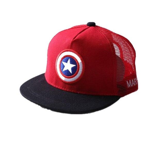 ALLKPOPER Summer Childrens  Baseball Cap Boys&Girls Cartoon Captain America Snapback Adjustable Kids Hip Hop Hat Sun Mesh Cap