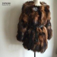 Винтажная шуба из натурального Лисьего меха, классический дизайн, натуральный Лисий мех, длинное пальто для женщин, верхняя куртка на заказ, большой размер, роскошный Теплый мех, TAH671