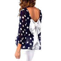 Women Fashion Charming Girls Stylish Dots Printed Bowtie Long Sleeve Crewneck O Neck Blouse Casual Top