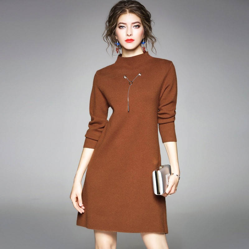 Sweater Dress Long Sleeve 2017 Autumn Winter New Fashion Stand Collar Solid Loose A-Line Knitted Dress Knee Length Caramel Color