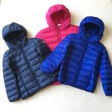 European standard 90 velvet light thin candy color hooded children s wear down jacket coat boy