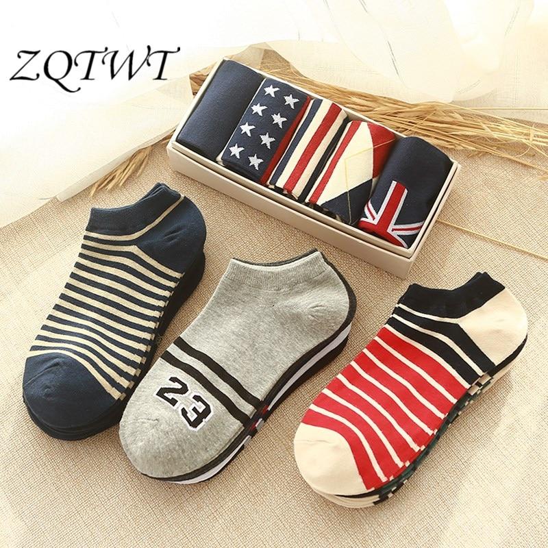 ZQTWT 5Pair/Lot Hot New Men Socks Unisex Women Meias No.23 Calcetines Striped Sailor Anchor Cotton Sock Female Socks 2WZ042