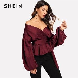 Image 4 - SHEIN Burgundy โคมไฟ Surplice Peplum V เสื้อคอ Modern Lady Bishop เสื้อ \ \ \ \ \ \ \ \ \ \ \ \ \ \ \ \ \ ฤดูใบไม้ผลิ Minimalist Elegant Blouses