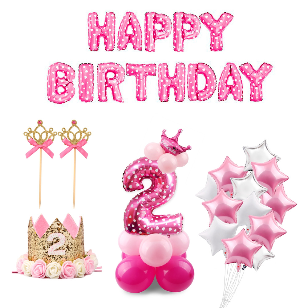QIFU Blue Boy 2nd Birthday Decoration Pink Girl 2 Balloons Number Ballon Year Old Party Decorations Kids In Ballons Accessories From