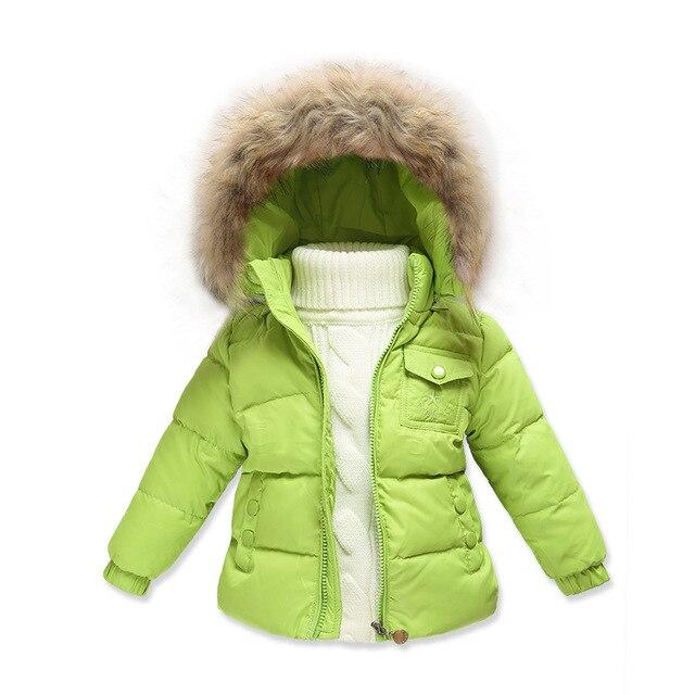 Зимний стиль Девушки пуховик Мальчики девочки малыш пуховик Меховым воротником С Капюшоном толстые пальто новорожденного ребенка Из одежды