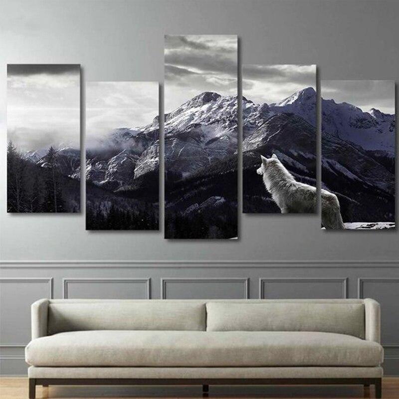 Diamant peinture point de croix kits neige montagne Plateau loup mur Art décor maison diamant broderie 5 pièces peintures Animal