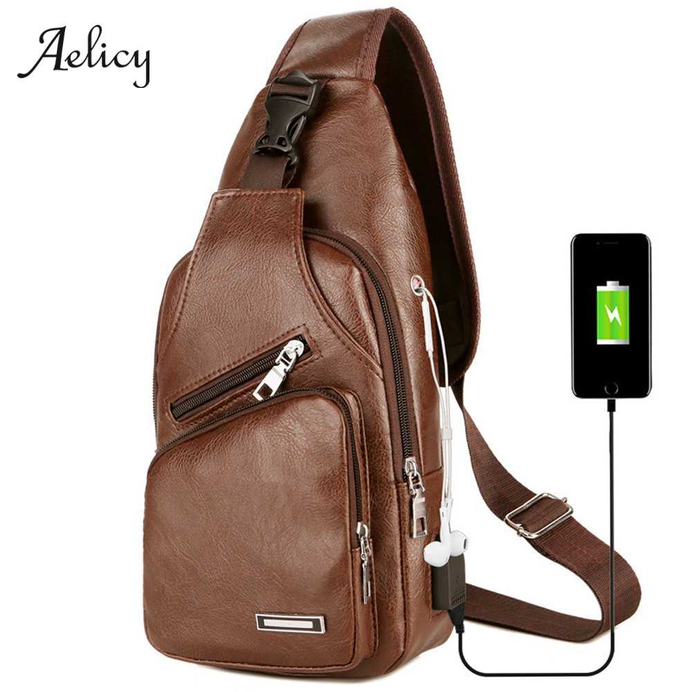 Aelicy Men's Chest Bag Men Leather Chest Pack USB Backbag With Headphone Hole Functional Travel Organizer Male Sling Bag 605