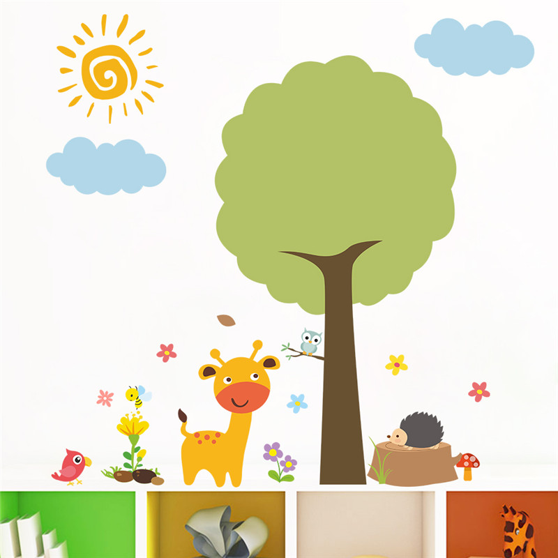 Us 32 10 Offzoo Animals Tree Birds Bear Giraffe Flower Wall Sticker For Kids Rooms Decals Kindergarten Home Decor Bedroom Deoration Mural In Wall