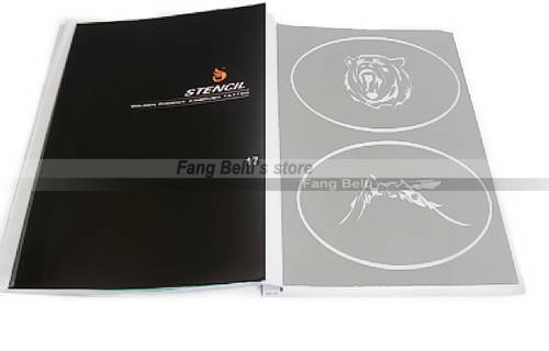 US $43 5  1pc Airbrush Stencils / Templates for Body Art / Temporary Tattoo  Book #17 50 designs in 1 book free shipping-in Tattoo Stencils from Beauty