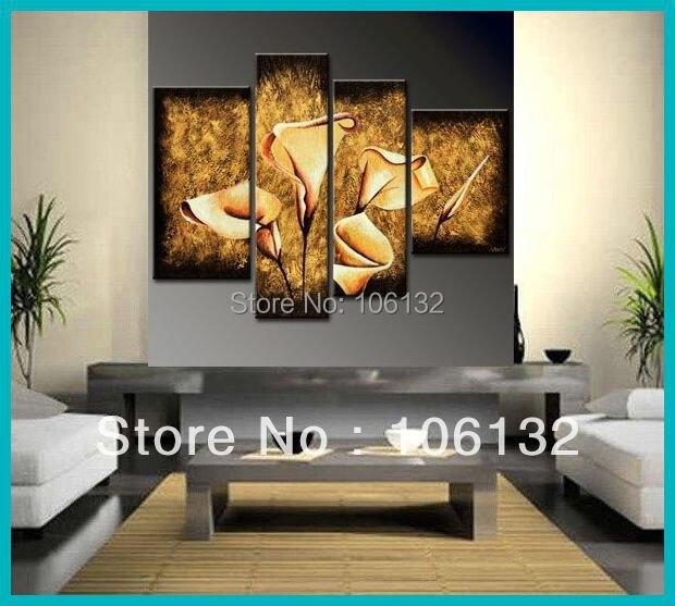 Online Shop Framed 4 Panel Huge High End Stunning Calla Lily