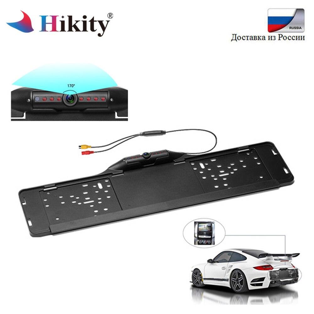 Hikity EU Marco de placa de licencia europea CCD HD cámara de visión trasera de coche impermeable cámara de respaldo reversa Universal HD Visión Nocturna