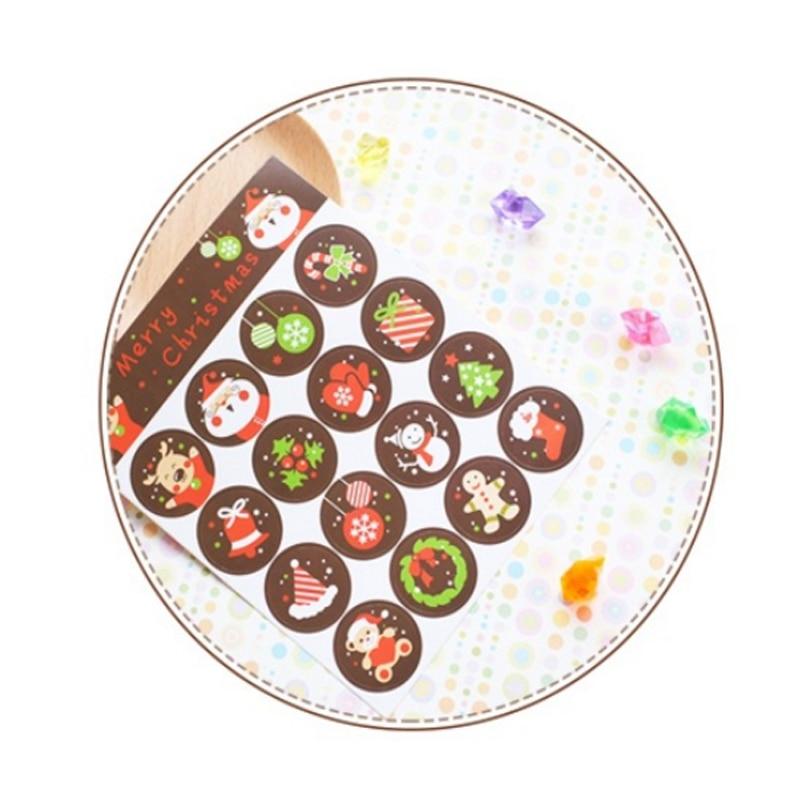 Купить с кэшбэком 160 Pcs/lot Kawaii Stickers Merry Christmas Santa Claus Gift Round Adhesive Sealing Sticker Handmade Product Package Decoration