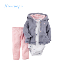 HIMIPOPO Active Style Children's Winter Clothes Sets 3PCS/LOT Girls Coat Hooded+Infant Bodysuits+Pant Kids Outfit Cardigan Set