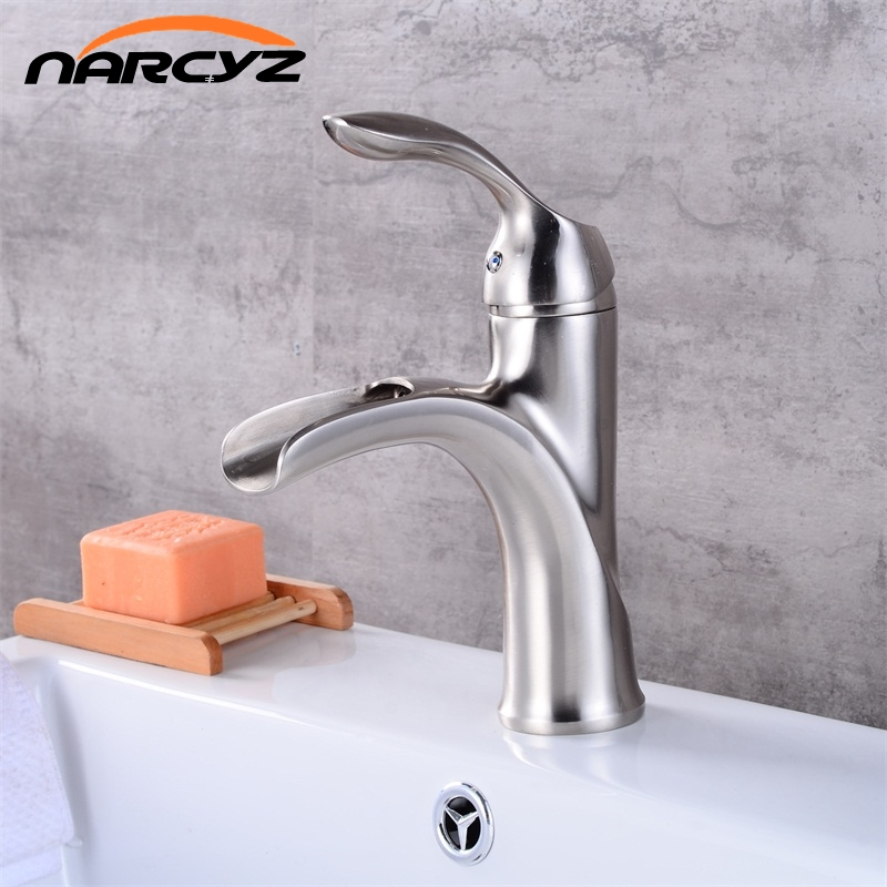 Free Shipping New design antique brass faucet Brushed nickel bathroom faucet black and chrome basin tap