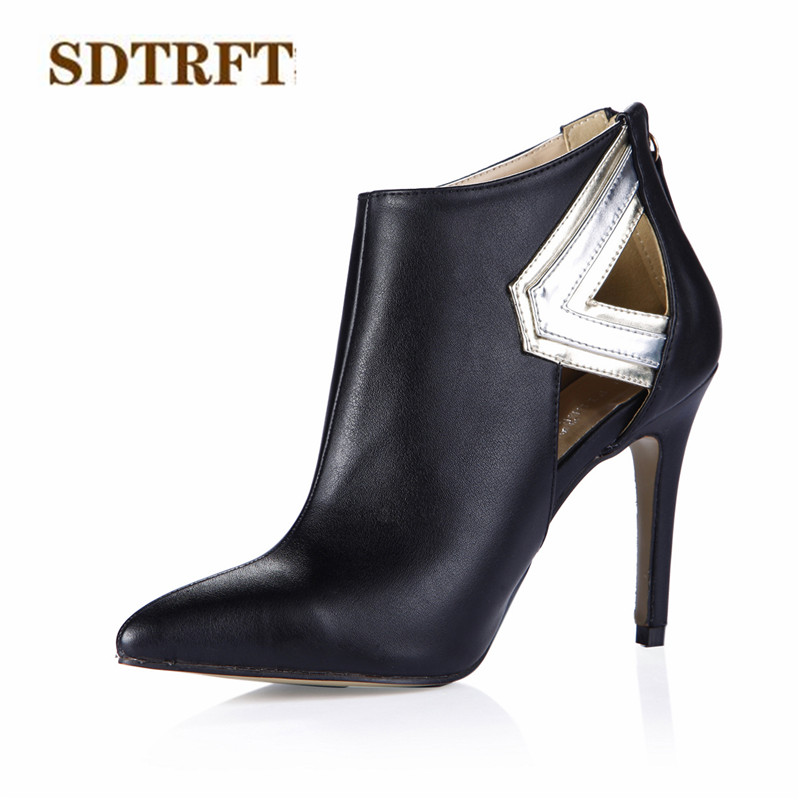 SDTRFT Spring/Autumn botas mujer 10cm thin heels martin Ankle boots Sexy shoes Woman Crossdresser Party pumps Plus:35-42 43