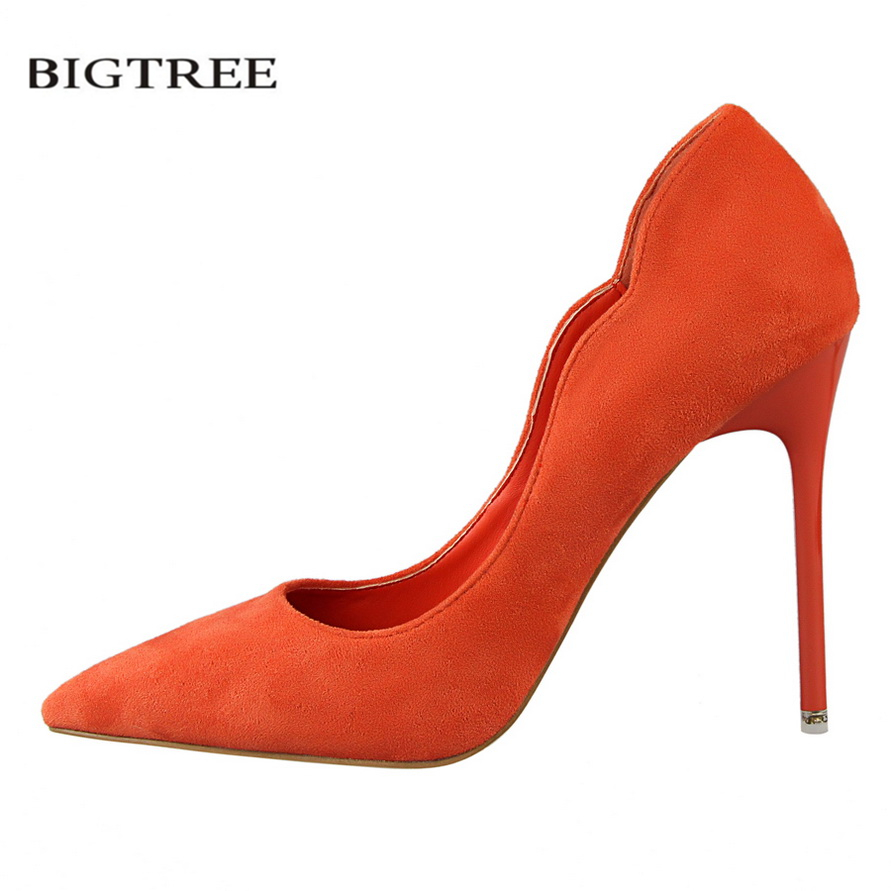 BIGTREE Spring Pumps Sweet High Heels Shoes Thin Wave High-heeled Shoes Suede OL Pointed Flock Elegant Heeled Shoes G3168-10 bigtree spring autumn simple sweet women pumps shallow mouth suede ol pointed hollow 10 5 cm fine high heels shoes