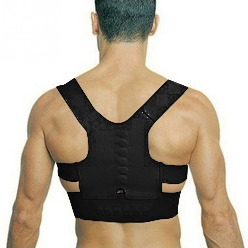 Cinto de Suporte da coluna para Homens Mulheres New Magnetic Posture Corrector Alisador de Neoprene Cinta de Volta Espartilho Ombro Para Trás Cinto Preto