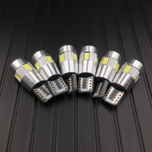 6X High power T10 w5w led car light t10 6smd 10smd 5630 5w5 12v t10 white car bulb Lamp interior light w5w t10 canbus error free(China)