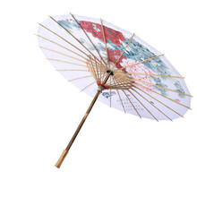 oein Paper Umbrella Bamboo Handmade Decorative Wooden Umbrella Women Classical Japanese  Ink Painting Flower Peony Chinese free shipping blue bamboo paintinghandmade umbrella waterproof sunshade dance props oiled paper umbrella unique chinese umbrella