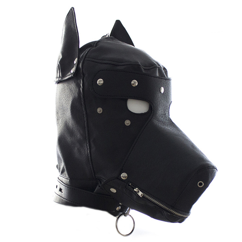 Fetish PU Leather SM Hood <font><b>Dog</b></font> Mask Head Harness <font><b>Sex</b></font> Slave <font><b>Collar</b></font> Leash Mouth Gag BDSM Bondage Blindfold <font><b>Sex</b></font> Toys For Couple image