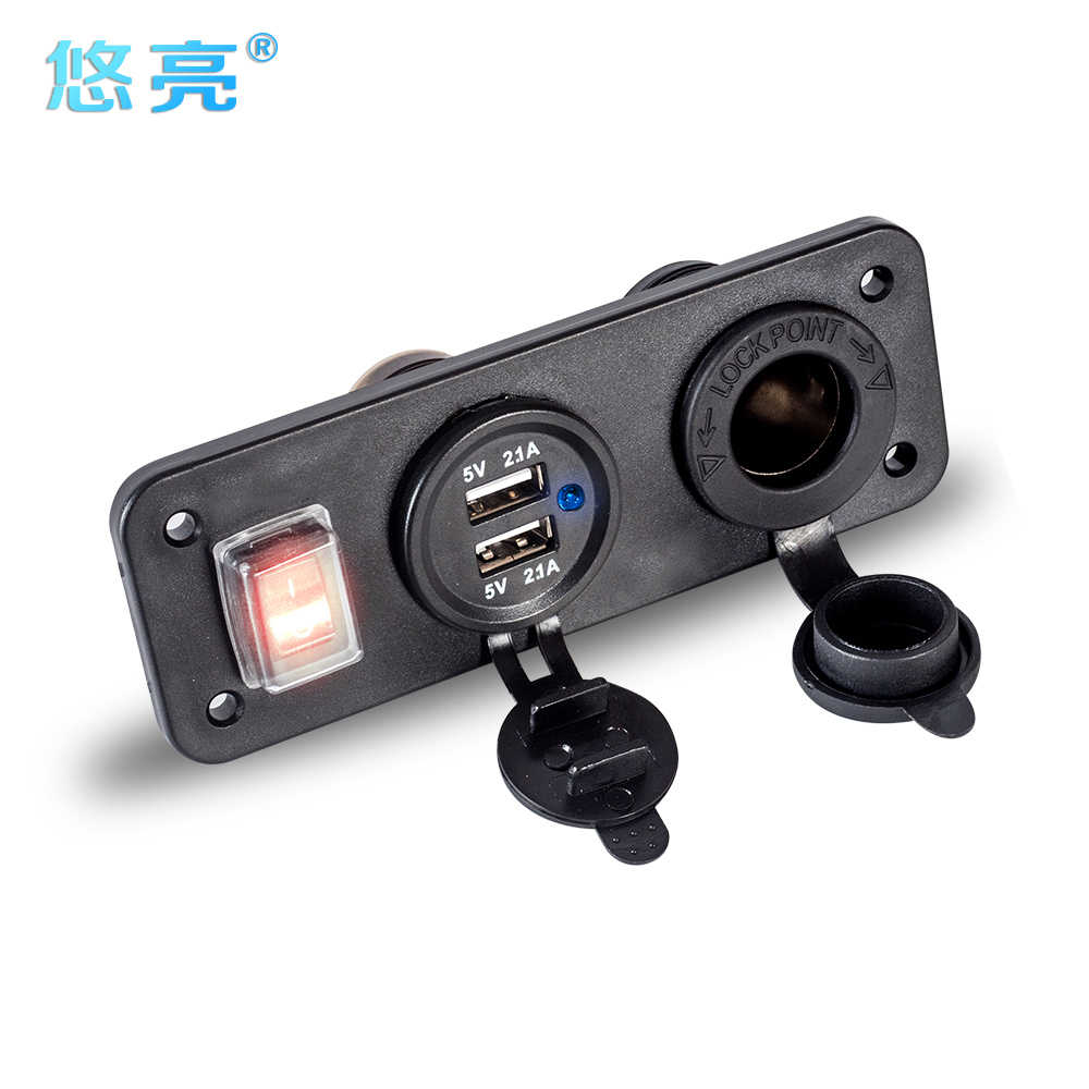 5V 4.2A Universal Quick Charging 3 In 1 USB Car Charger 2 Port Cell Phone USB Car Charger With Cigarette Lighter Socket & On/Off