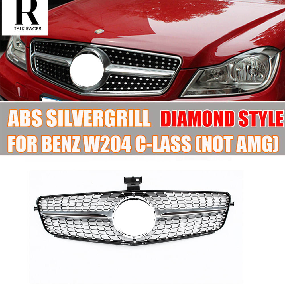 W204 Diamond Style ABS Silver Front Bumper Grill Grille for Mercedes Benz W204 C CLASS C180 C200 C220 C260 C300 not fit AMG