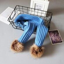 Children plain knitting long scarf with pom-pom korea fashion girls kids winter acrylic wool yarn knitted shawls cute