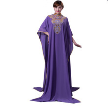 Purple Chiffon Beaded Muslim Women Kaftans High Neck Sleeved Arabic Evening Kaftan Custom Size