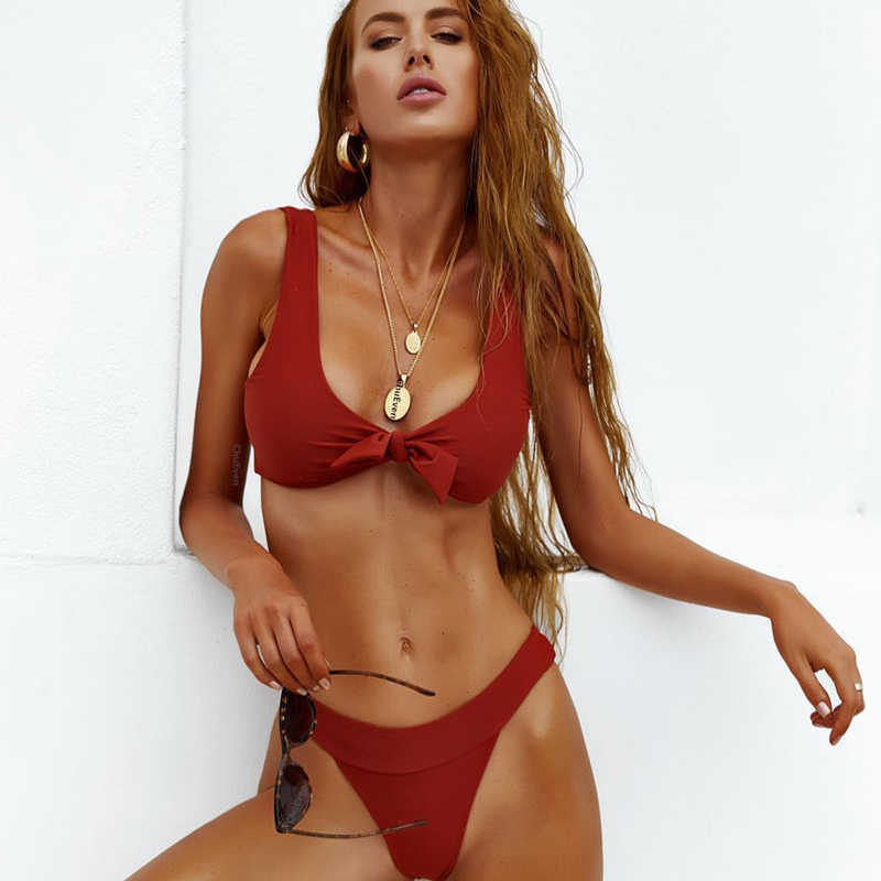 c6eac811a3cd ... Mid Waist Bikini 2019 Sexy Zaful Red Women Swimsuit Solid Beach Wear  Push Up Bathing Suits ...