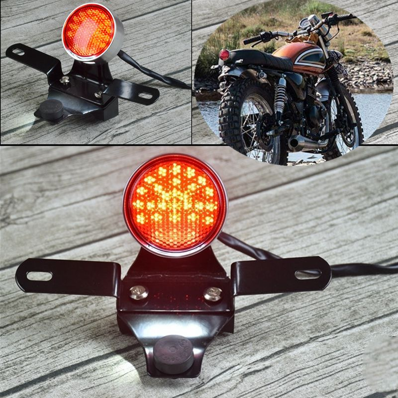 GN retro motorcycle cafe race modified universal CNC aluminum alloy LED Tail License Plate Rear Light Round Break Stop Lamp|  - title=