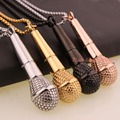 Newest Gold & Silver & Black & Rose Gold Microphone Pendant 316l Stainless Steel Fashion Microphone Cool Pendant