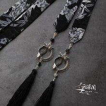 Pale ink Diablo domineering kirin printed to put on the forehead panlong tassel men forehead hanfu tassel hair band