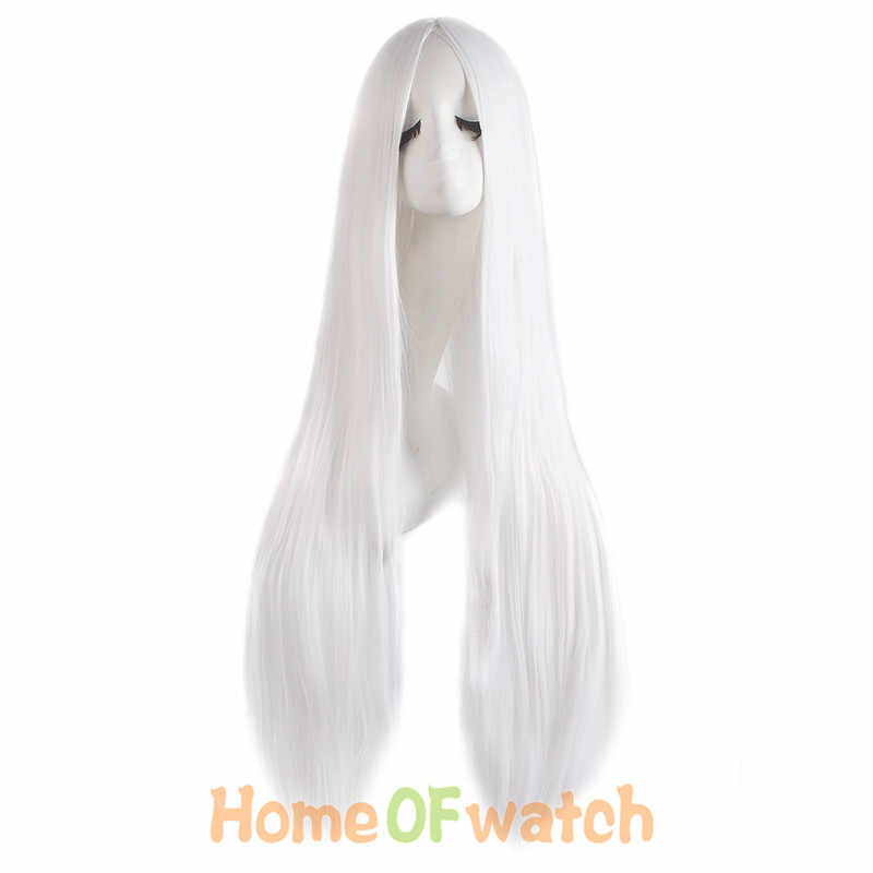 MapofBeauty 100cm długie proste Hair100cm peruka do cosplay czarny biały brązowy 4 kolor żaroodporne peruki syntetyczne kobiety panie Party