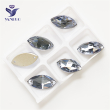 YANRUO 3223 All Sizes Lt.Sapphire Navette Strass Flatback Rhinestone Sew On Crystal Glass Sewing Loose Stones all sizes clear crystal white rectangle shape sew on rhinestones glass strass sewing crystal stones for dress making accessories