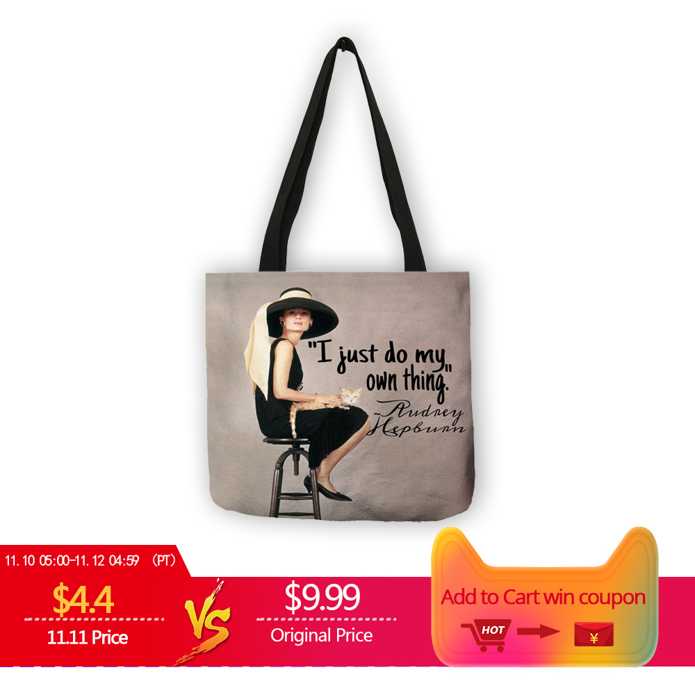 Unique Customize Tote Bag Eco Linen Bags with Audrey Hepburn Print Reusable Shopping Bags Fashion Handbag Totes For Women unique customize tote bag eco linen bags with audrey hepburn print reusable shopping bags fashion handbag totes for women