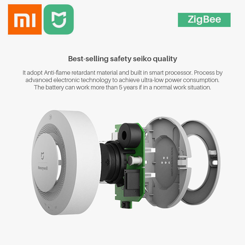 lowest price Xiaomi Mijia Honeywell Fire Alarm Smoke Sensor Gas Detector Work With Xiaomi Gateway 2 Smart Home Security Mi Home APP Control