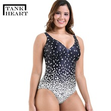 Tank Heart Gradient Ramp Print Sexy Sport Plus Size Swimwear Large Sizes One Piece Swimsuit Women Bathing Suits monokini XXL-6XL heart print tank